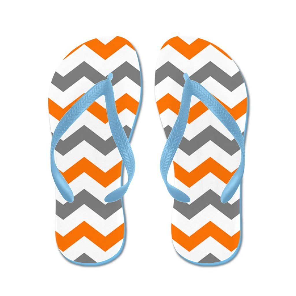 Lplpol Gray and Orange Chevron Pattern Flip Flops for Kids and Adult Unisex Beach Sandals Pool Shoes Party Slippers