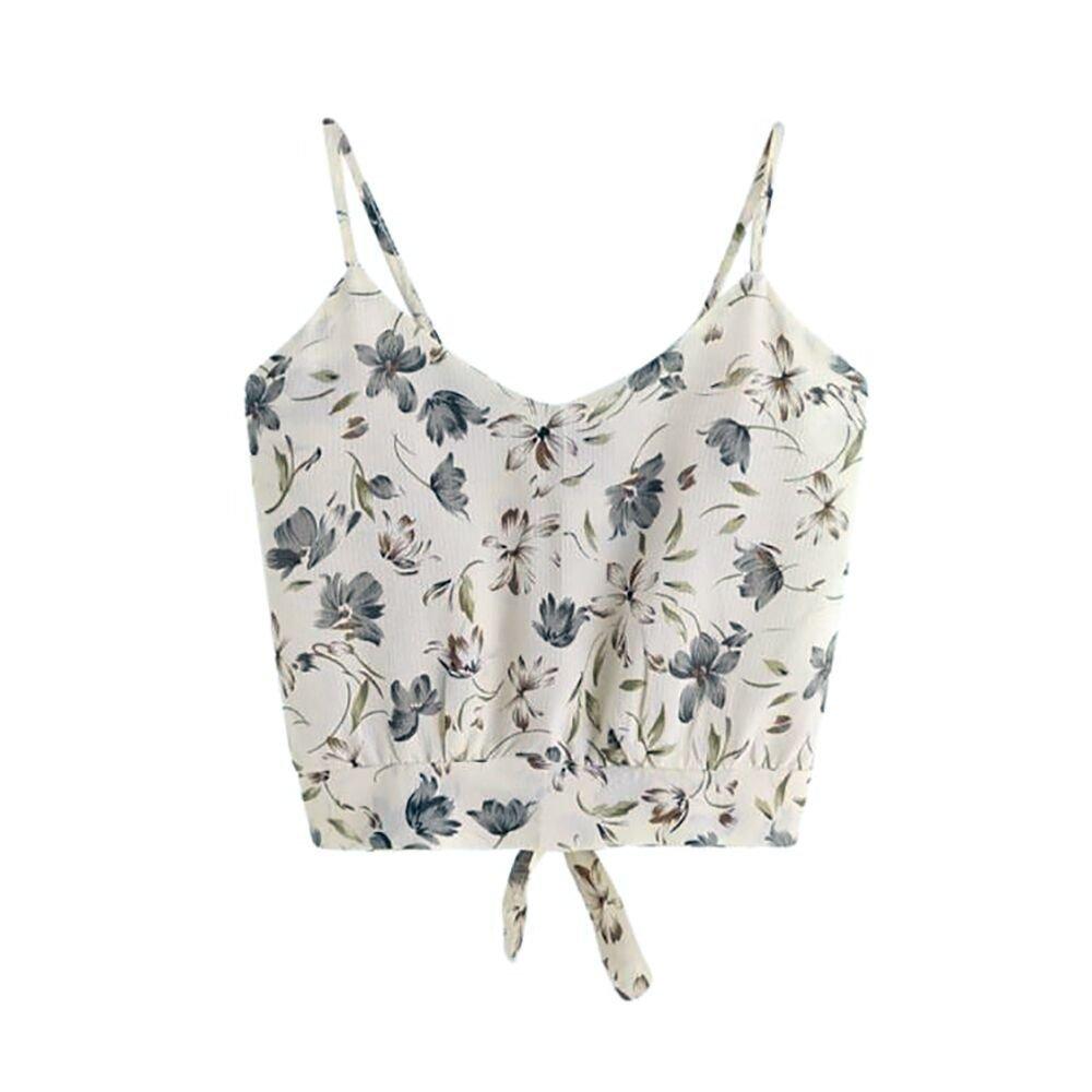 f658139b5f4f6 F topbu Women Tank Crop Tops Teen Girls Stripe Printed Tie Knot Back  Sleeveless Blouse Cami Shirt Camisoles at Amazon Women s Clothing store