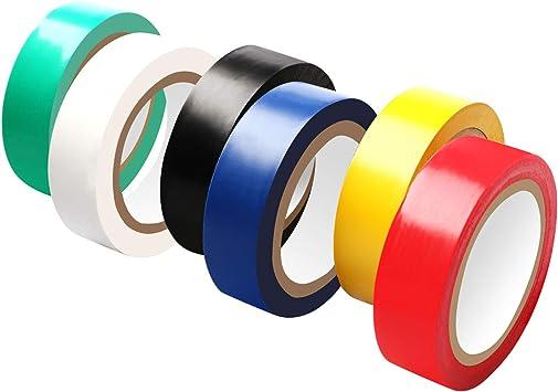saisn cinta aislante PVC Cable eléctrico aislante de color Cinta adhesiva – Pack de 6: Amazon.es: Bricolaje y herramientas