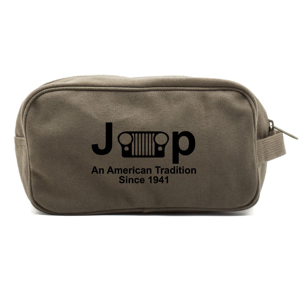 Jeep An American Tradition Canvas Shower Kit Travel Toiletry Bag Case in Olive & Black