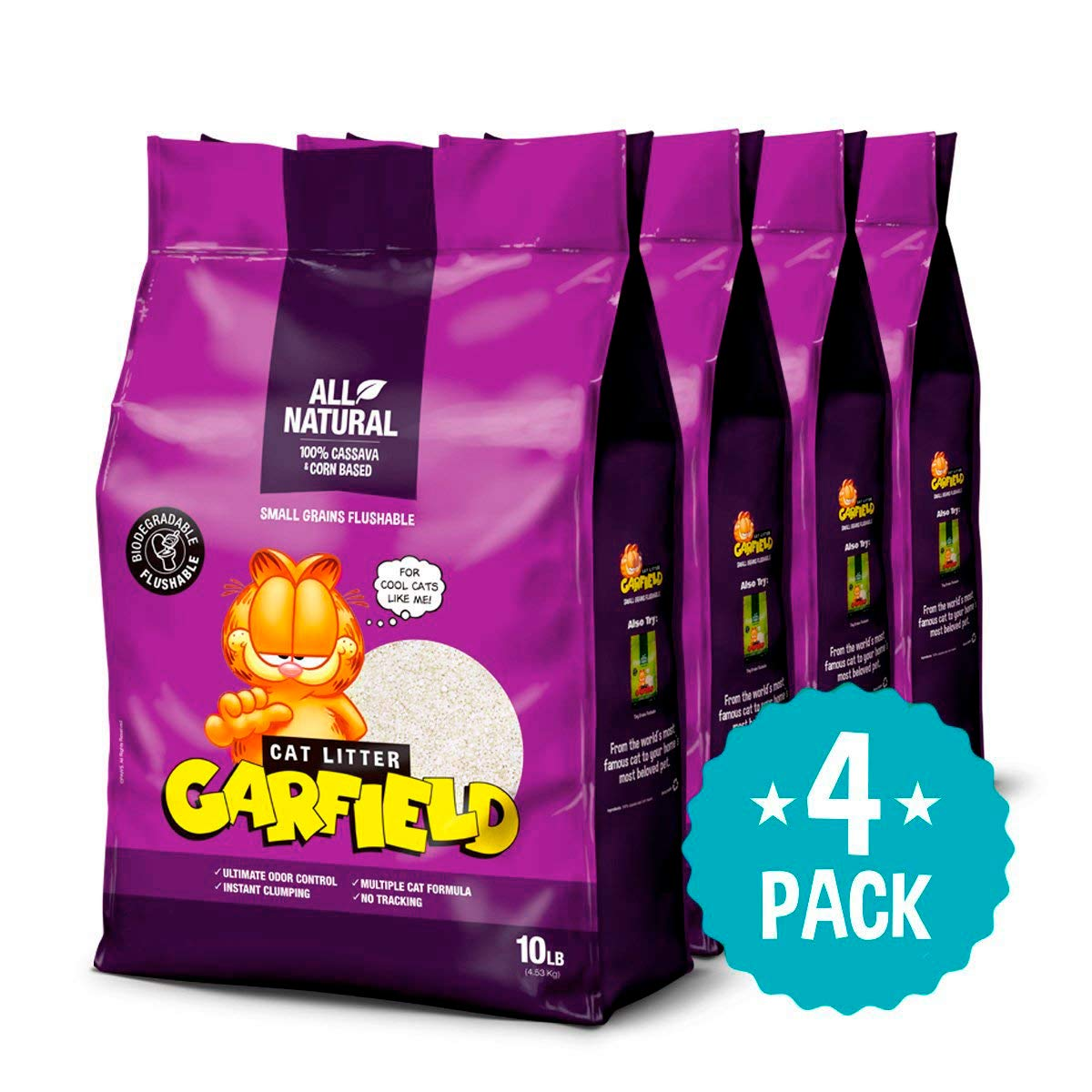 Garfield Cat Litter | All natural, fast clumping, purrfect for all cats | DUST FREE, CHEMICAL FREE, CLAY FREE | Biodegradable & Flushable. Small Grains 15 lb. Petfive Brands 50000