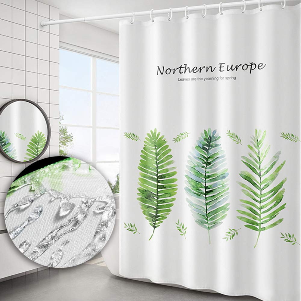 Yuclock Polyester Shower Curtain Waterproof and Moisture-Proof Thick Toilet Partition Curtain, 180 X 220   cm, Include Hook