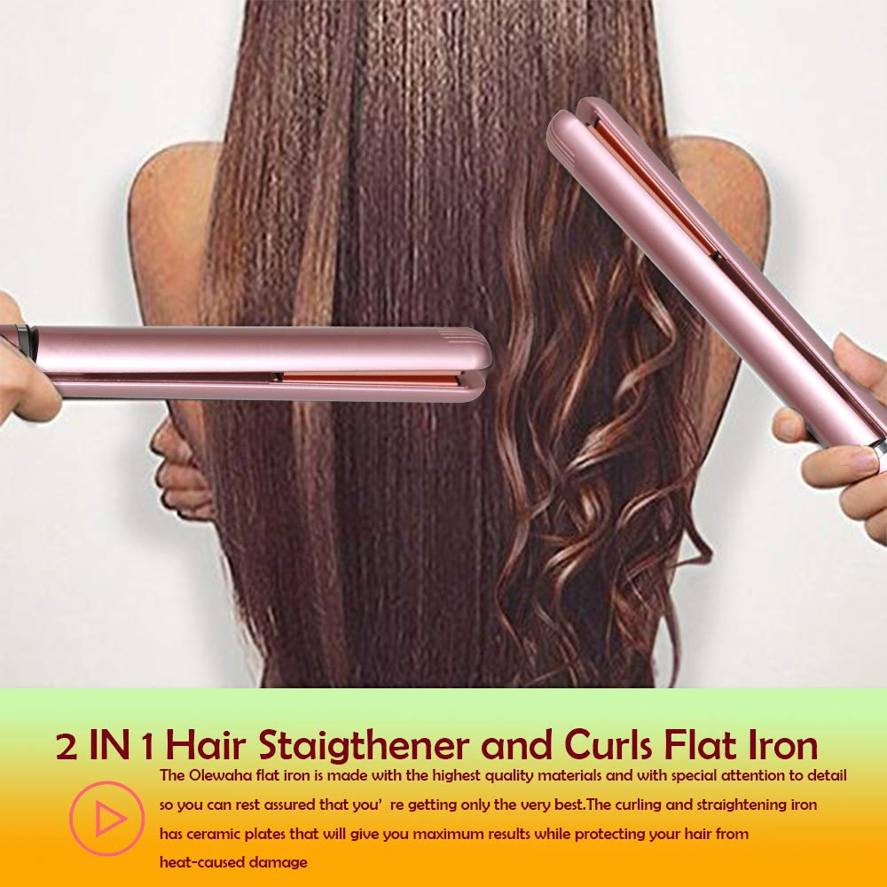 Rose Hair Straightener and Curls 2 IN 1 for Long Hair, Straightens Curls with Adjustable Temp Ceramic Tourmaline Ionic Flat Iron Hair Straightener Travel Solan 1 Inch Dual Voltage Rose