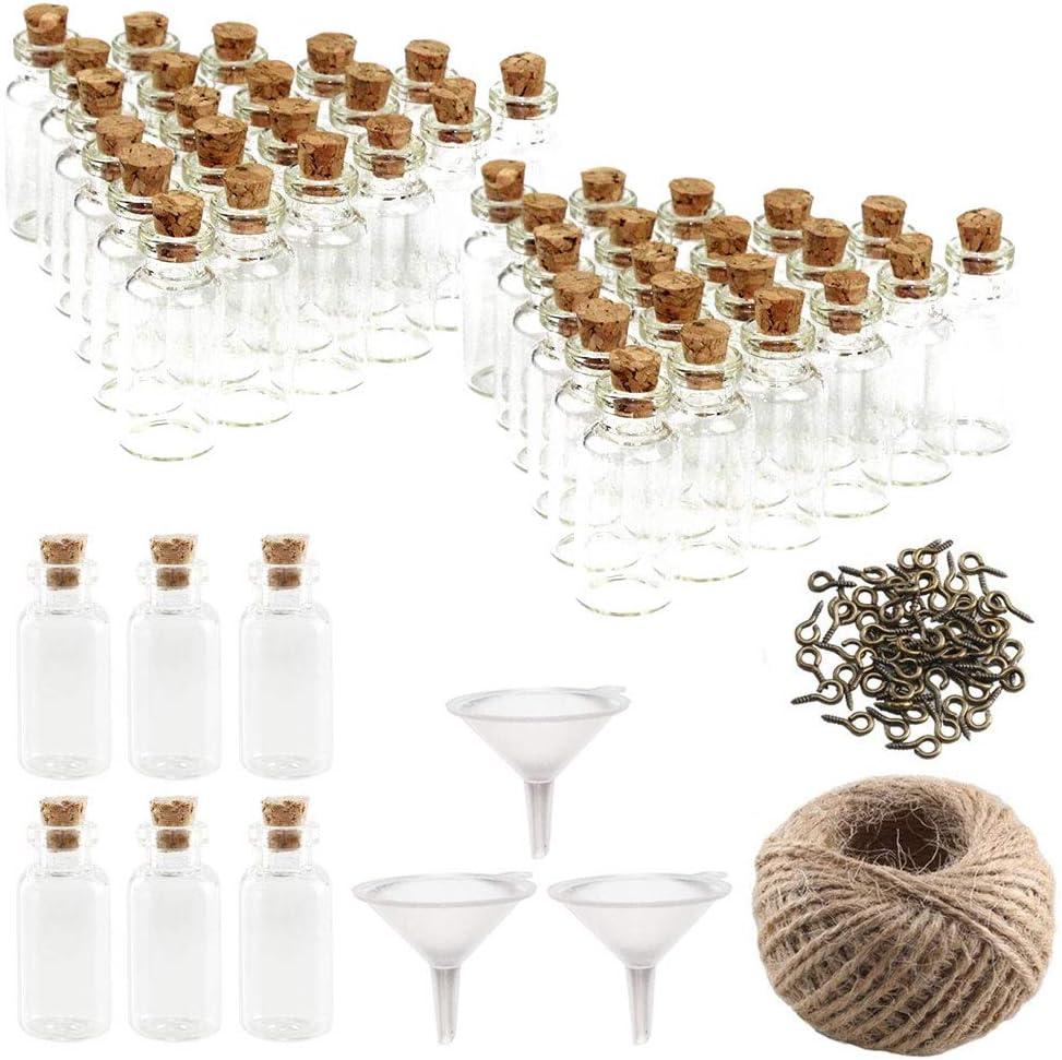 FOGAWA 48Pcs Mini Botellas de Vidrio 20ML Mini Botes de Cristal con Tapón de Corcho Botella para Boda Decoraciones Favores DIY Mensajes con 48 Tornillos 3 Embudos 30M Cuerda de Cáñamo