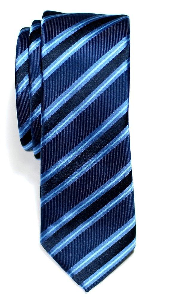 Prämie Schmale Gewebte Krawatte Preppy Gestreifte 5 cm - in verschiedenen Farben RTZ-TIE-0025-BLE