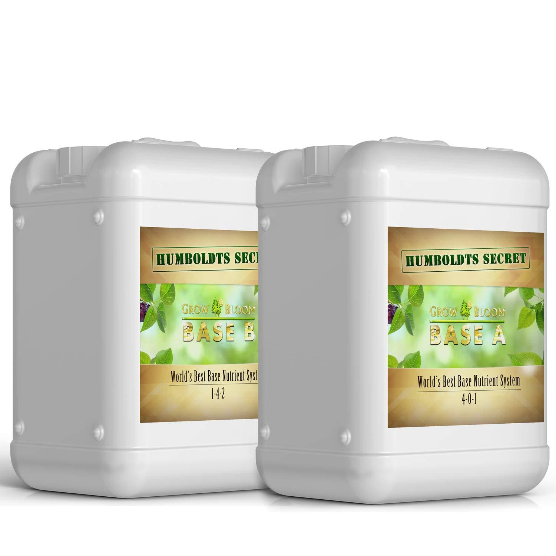 Humboldts Secret Base A & B Bundle - World's Best Base Nutrient System - Liquid Nutrient/Fertilizer for Indoor Plants - Supports Vegetative and Flowering Stages of Plants - Set of 5 Gallons by Humboldts Secret