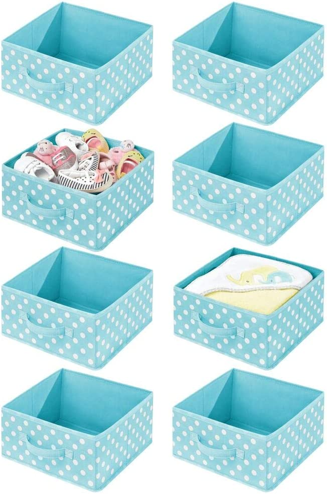 mDesign Soft Fabric Closet Storage Organizer Bin Box - Front Handle, for Cube Furniture Shelving Units Bedroom, Nursery, Toy Room - Textured Print - 8 Pack - Turquoise Blue/White