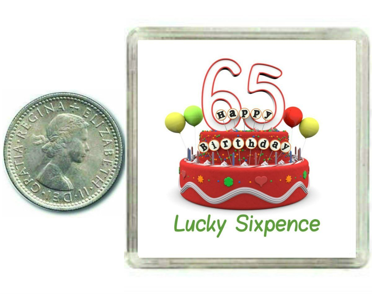 65th Birthday Lucky Sixpence Gift, Great good luck present idea for man or woman Oaktree Gifts