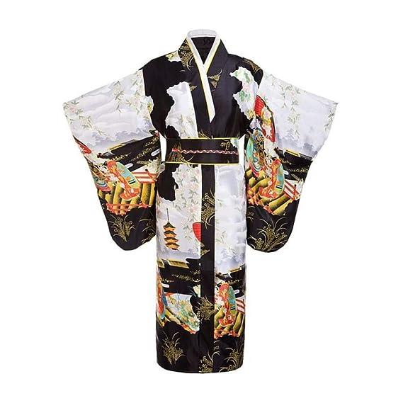 NO BRAND Negro Mujer Señora Tradición Japonesa Yukata Kimono con ...