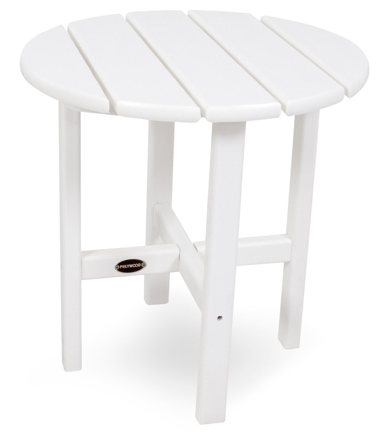 POLYWOOD RST18WH Round 18'' Side Table, White by POLYWOOD