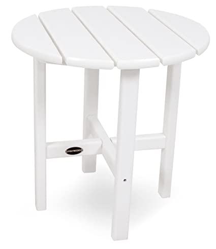 POLYWOOD RST18WH Round 18u0026quot; Side Table, White