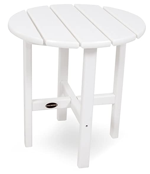 white side tables. POLYWOOD RST18WH Round 18\u0026quot; Side Table, White Tables