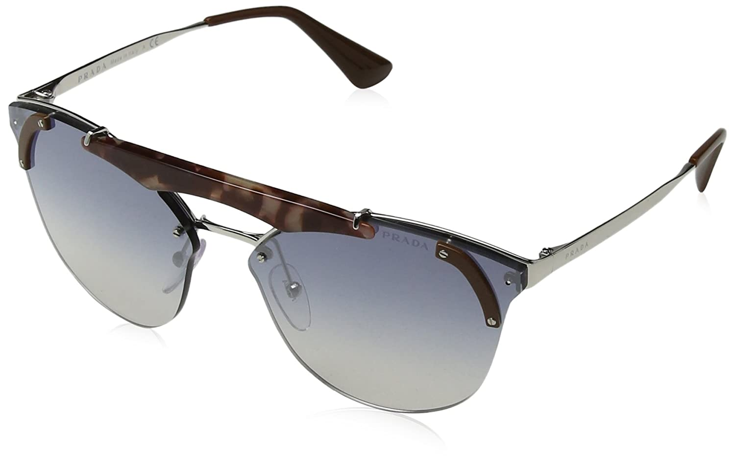 Prada 0PR53US C135R0 42, Gafas de Sol para Mujer, Marrón Pink Havana/Brown/Light Blue Silver