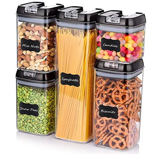 ME.FAN Airtight Food Storage Container Set [5-Piece Set] Durable Seal Pot- Cereal Storage Containers - 24 Chalkboard Label - Kitchen Cabinet Organization - BPA Free - Clear Plastic with Black Lid