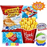 """Matty's Toy Stop Inflatable French Fries (69""""x52"""") & Potato Chips (70""""x55"""") Pool Floats (Mats) with Realistic Printing Gift Set Bundle with Bonus 16"""" Beach Ball - 2 Pack"""