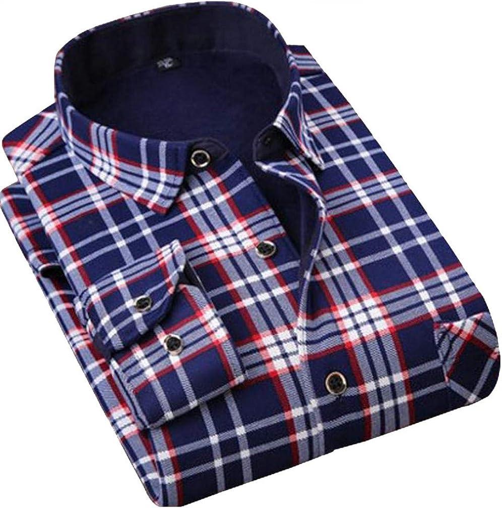 Pandapang Mens Fleece Long Sleeve Thicken Stylish Lapel Neck Faux Fur Lined Button Down Shirts