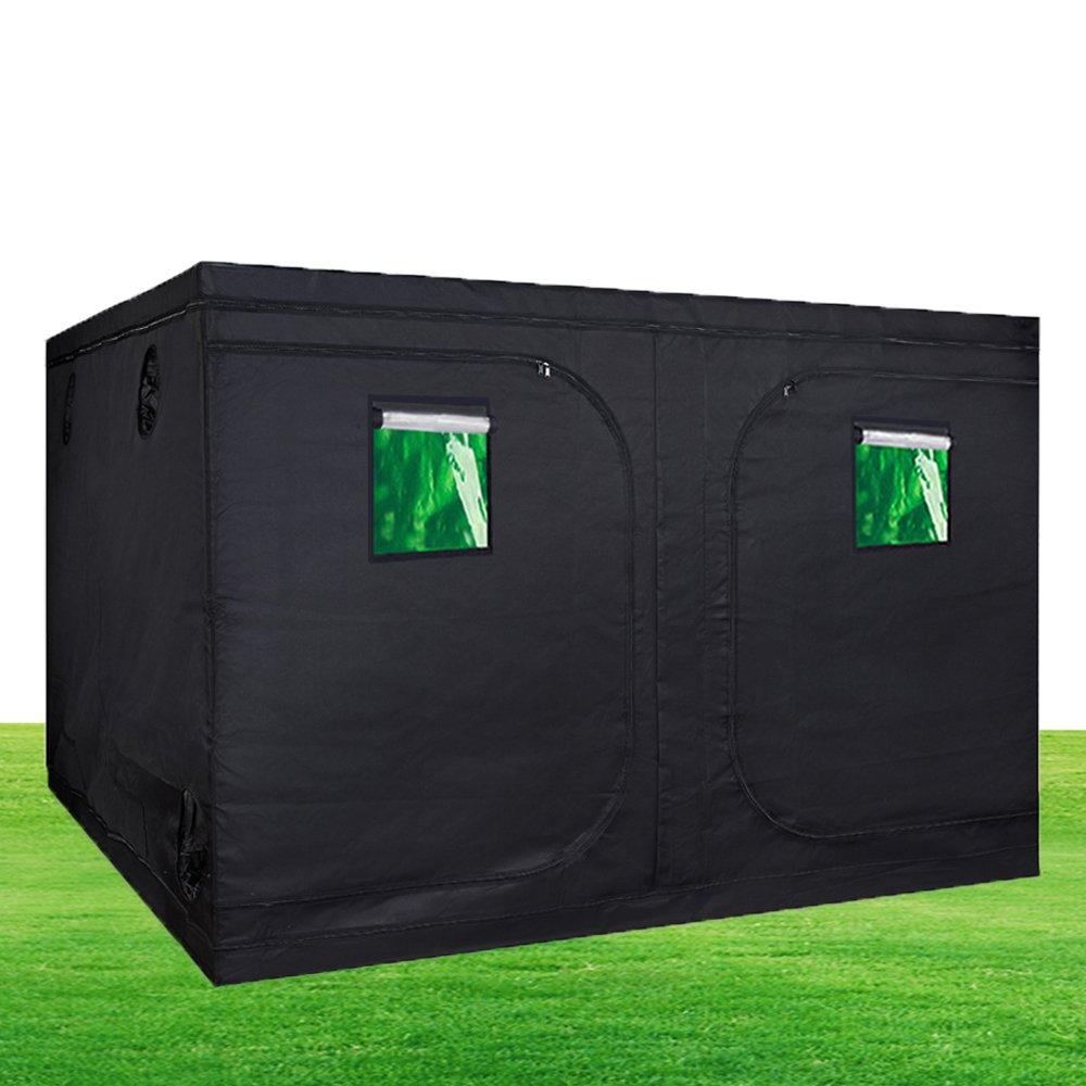 Hongruilite 120''x120''x78'' Indoor Grow Tent Room 600D Reflective Diamond Mylar with Observation Window Hydroponic Garden Growing Plant w/Metal Corner
