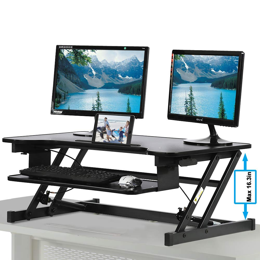 Standing Desk, Height Adjustable Stand Up Desk Gas Spring Riser Converter Sit to Stand Desk with Removable Keyboard Tray for Desktop Laptop Dual Monitor (32'' Standing Desk) by Dkeli