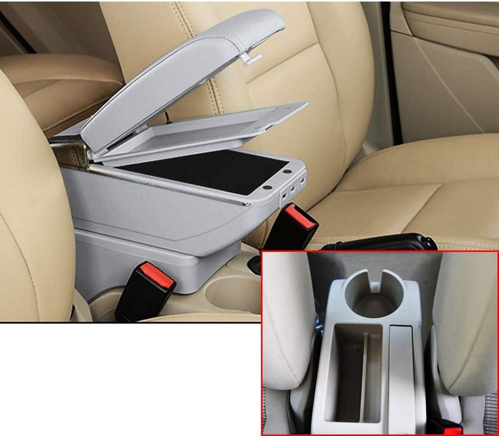 Muchkey Auto Interior Partes Caja Centro Consola Apoyabrazos con 7 USB de Almacenamiento para 2005-2011 Jetta mk5 Golf mk5 6 Gris: Amazon.es: Coche y moto