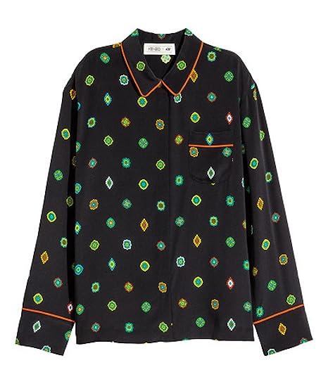4850b3f0856e33 KENZO X H M Patterned Silk Blouse Size 8  Amazon.co.uk  Clothing