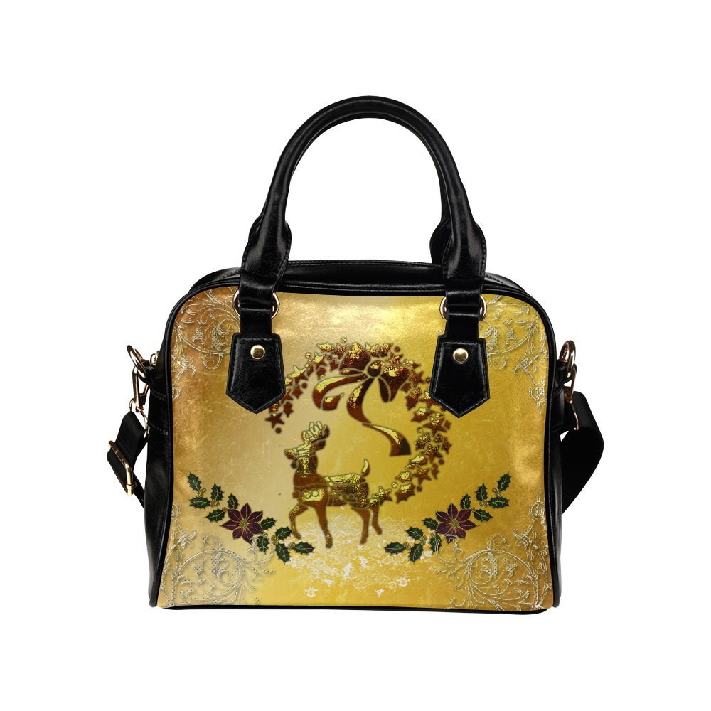 LEINTEREST Reindeer in golden colors Women Top Handbag Shoulder Bag