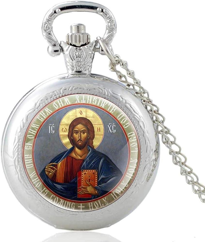 LEYUANA Reloj de Bolsillo de Cuarzo de Cristianismo ortodoxo de Bronce Vintage para Hombres clásicos,Collar Colgante de Regalo