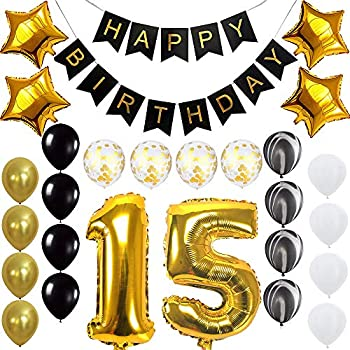 Quinceanera Happy 15th Birthday Banner Balloons Set For 15 Years Old Party Decoration Supplies Gold Black