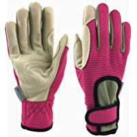 *Priority Choice* GREENLINE - Breathable Synthetic Leather Garden Gloves Gardening Gloves Working Gloves with Stretch Polyester & Spandex Back (Pink/Light Khaki)