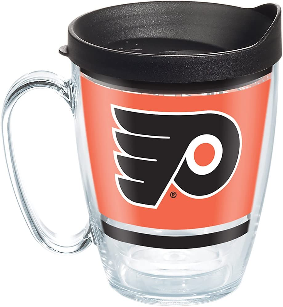 Tervis 1276810 NHL Philadelphia Flyers Legend Tumbler with Wrap and Black Lid 16oz Mug, Clear