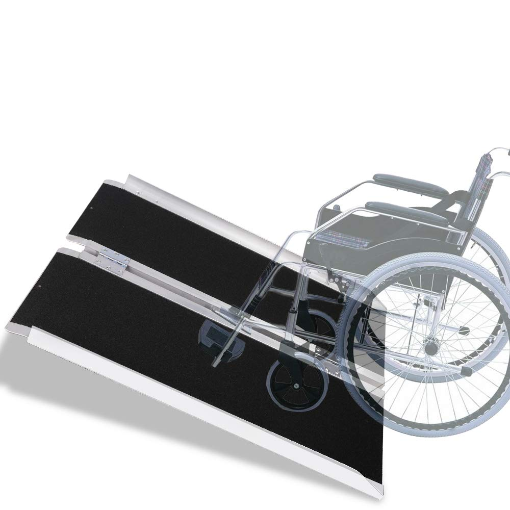 VI-CO 3' Single Fold Portable Aluminum Wheelchair Ramp, Non-Skid Scooter Ramp with Carry Handle, 600 lbs Capacity by VI-CO