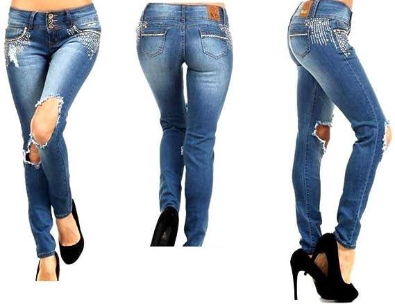 Amazon Com Bonage Pantalones Vaqueros Elasticos Para Mujer Color Azul Clothing