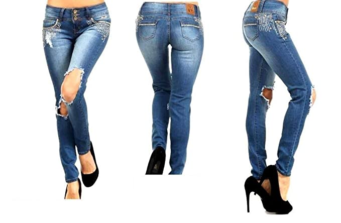 Amazon.com: bonage Denim Stretch Jeans destruir Skinny Azul ...