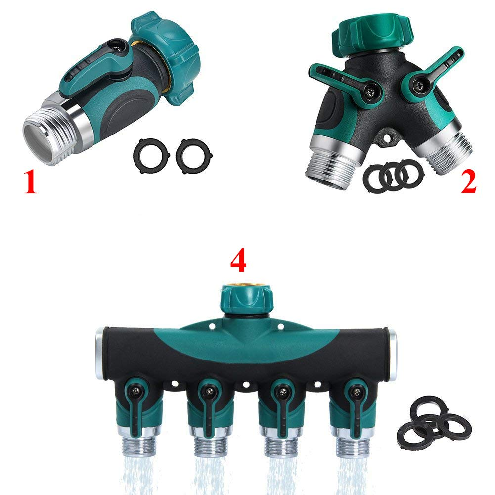 Kricson Garden Hose Shut Off Valve Y Connector Heavy Duty Hose Splitter 1Way + 2 Way + 4 Way Faucet Extension Brass Replacement with Hose Washers