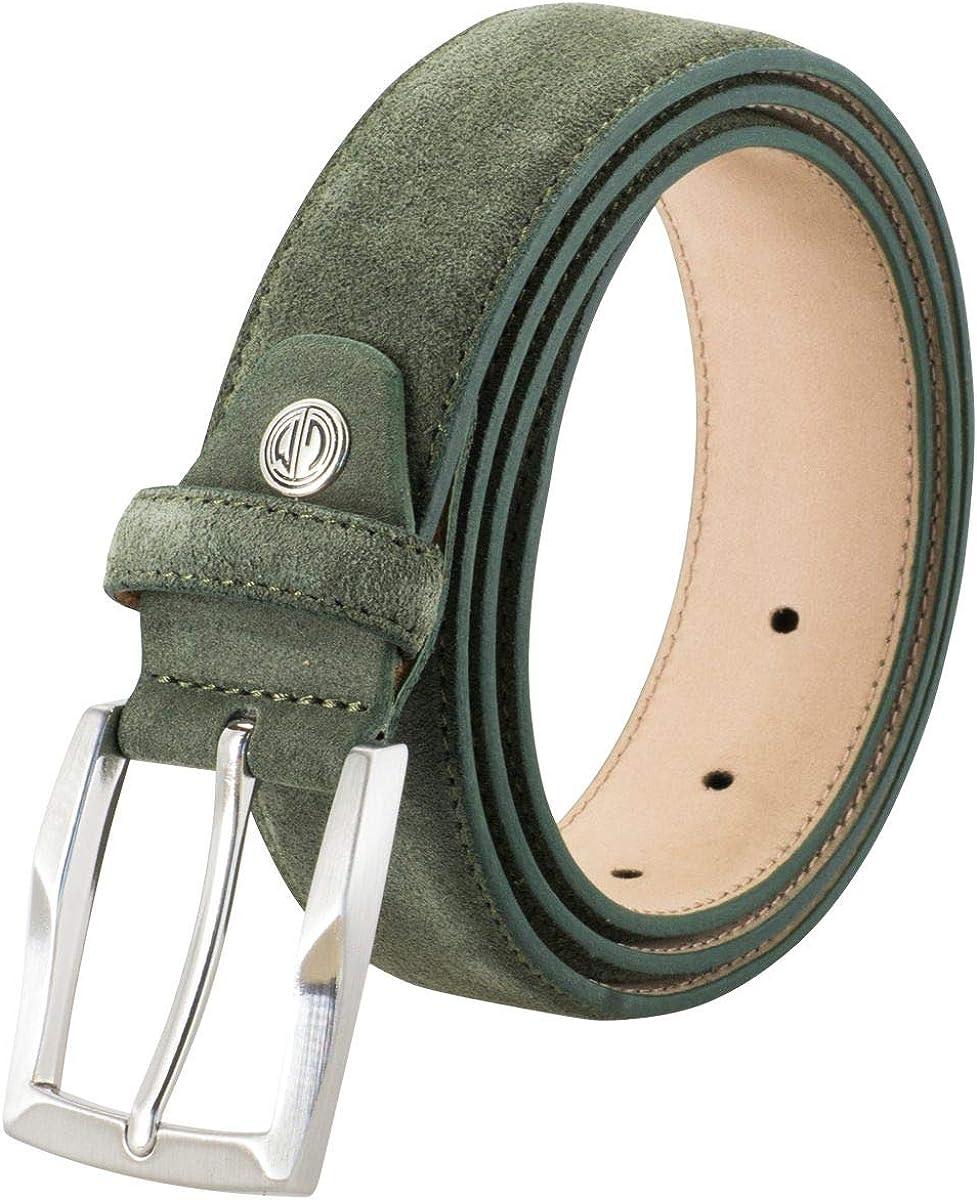 Lindenmann Mens Leather Belt//Mens Belt green 35 mm width suede leather belt
