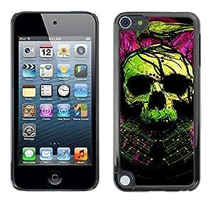 Qstar Arte & diseño plástico duro Fundas Cover Cubre Hard Case Cover para Apple iPod Touch 5 ( Skull Green Purple Death Raven Tattoo)