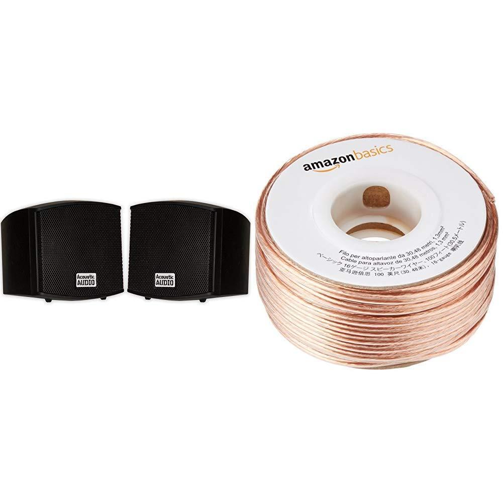 Acoustic Audio AA321B Mountable Indoor Speakers 400 Watts Black Bookshelf Pair & AmazonBasics SW100ft  16-Gauge Speaker Wire - 100 Feet