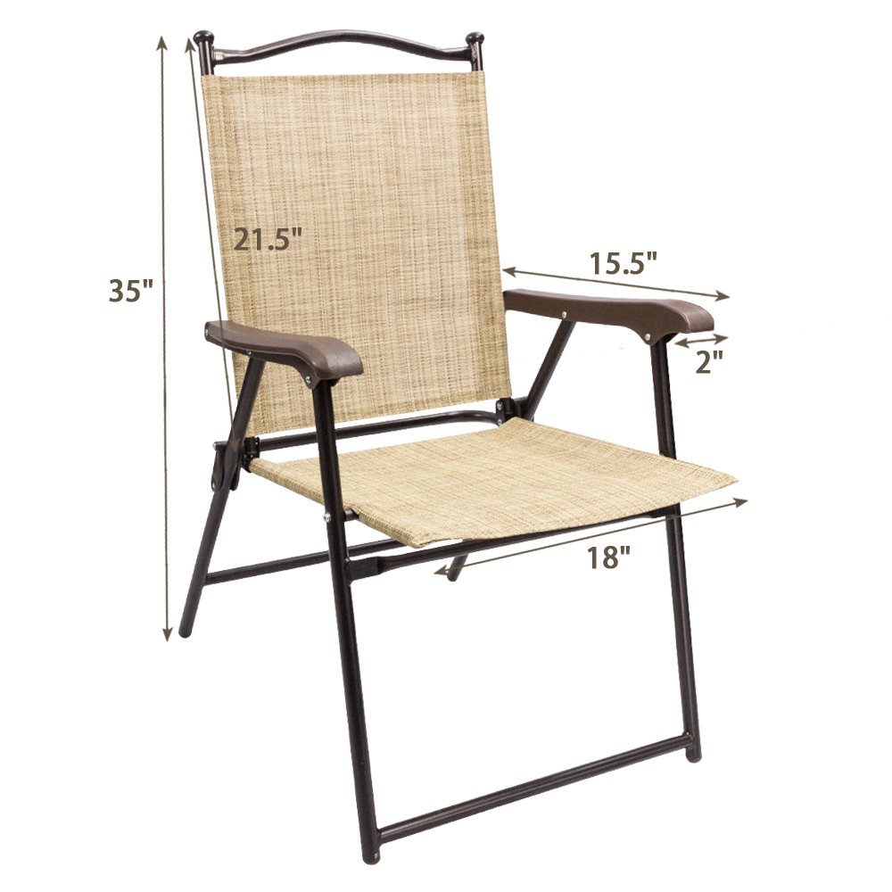 Devoko Patio Folding Chair Deck Sling Back Chair Camping Garden Pool Beach Using Chairs Space Saving Set of 2 (Beige) by Devoko (Image #7)