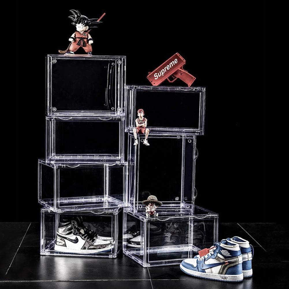Estante para zapatos, vitrina transparente de 360 °, caja de zapatos con puerta corrediza magnética apilable Para entusiastas del almacenamiento de calzado