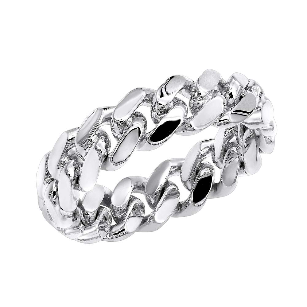 14K Gold Miami Cuban Link Chain Ring for Men (White Gold, Size 8)