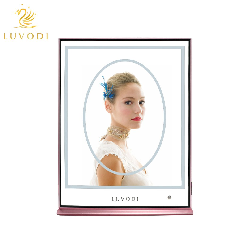 LUVODI Makeup Mirror Desktop LED Vanity Mirror Large Rectangle and Oval Overlay Aluminum Alloy Frame Sealed with Detachable Rubber Strip