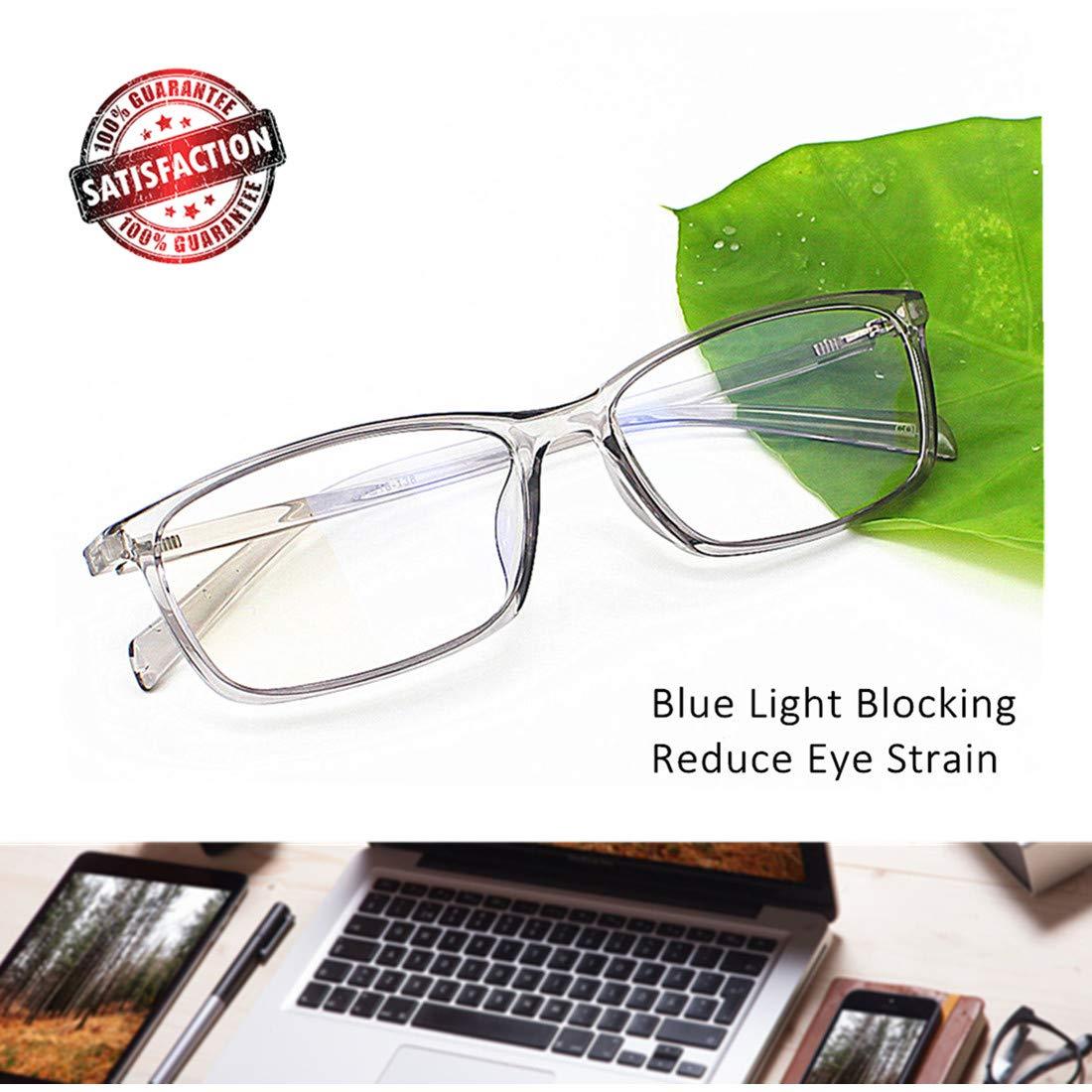 660480f11b43 Amazon.com  Computer Glasses Blue Light Blocking Reader Gaming Screen  Digital Eyeglasses Anti Glare Eye Strain Transparent Lens UV Light Weight  for Women ...