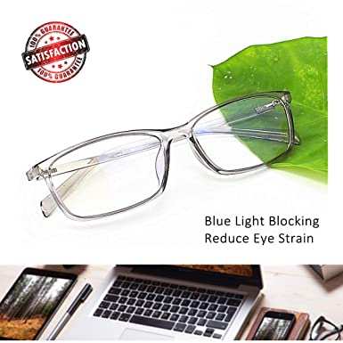 154fbf191514 Computer Glasses Blue Light Blocking Reader Gaming Screen Digital Eyeglasses  Anti Glare Eye Strain Transparent Lens