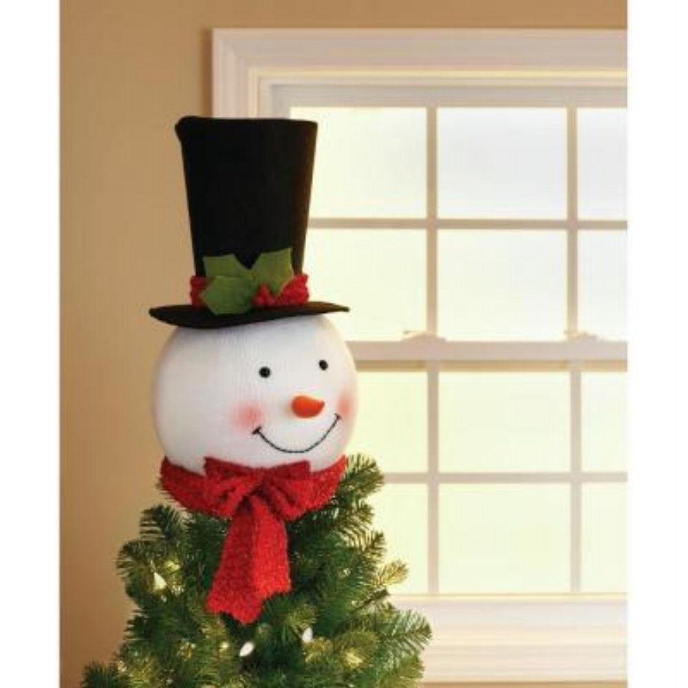Amazon.com: 18 In. Snowman Head with Hat Christmas Tree Topper ...
