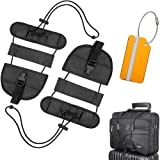 FXICAI Bag Bungee Luggage Straps Adjustable Travel Suitcase Belt Tags Label Accessories (Black-Set of 3)