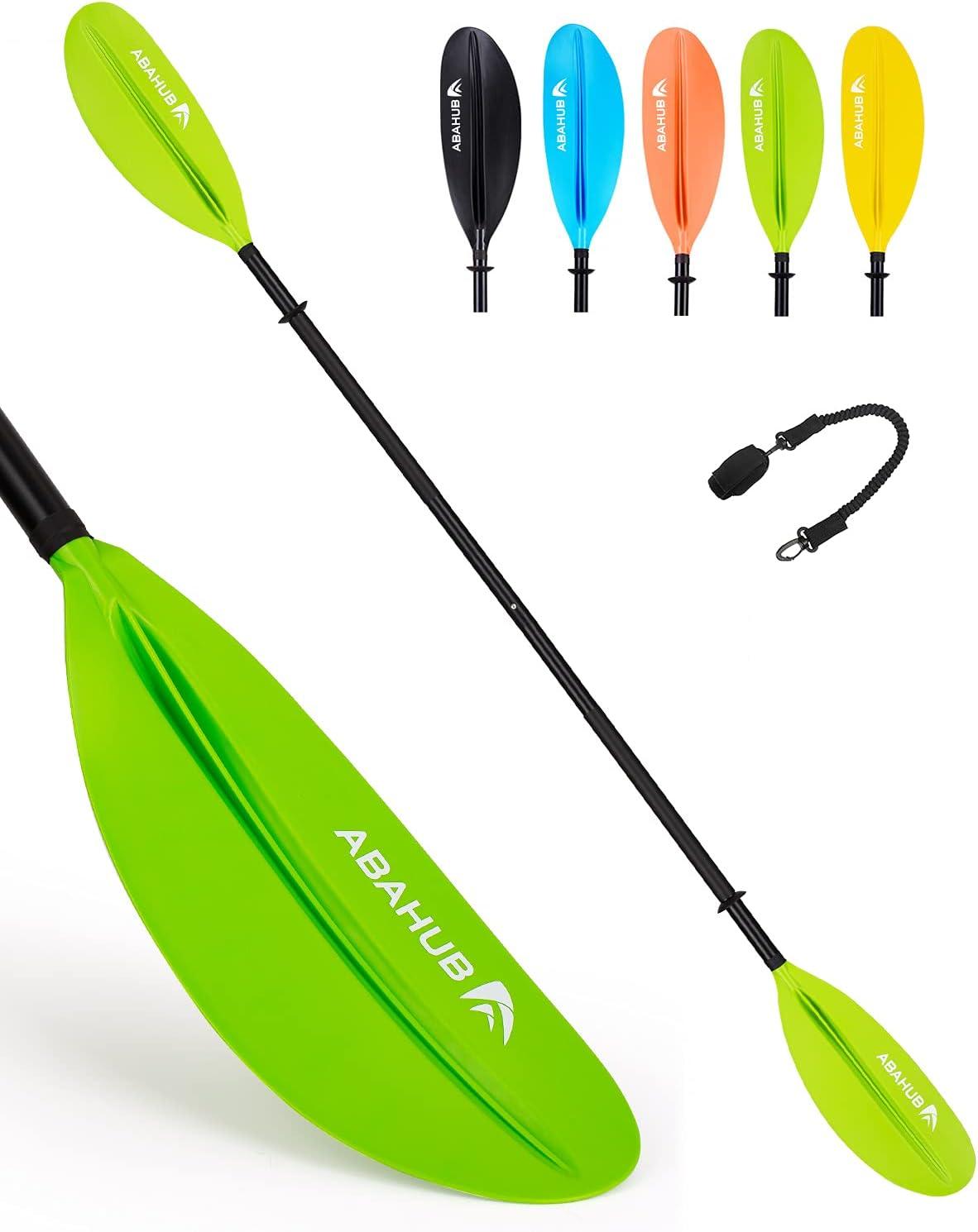 Abahub 1 x Kayak Paddles, 90.5 Inches Kayaking Oars for Boating, Canoeing with Free Paddle Leash, Aluminum Alloy Shaft Black/Blue/Green/Orange/Yellow Plastic Blades