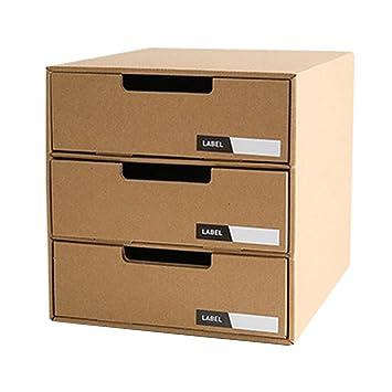 Cajón cartón Baffect con 3 capas de papel Kraft DIY Almacenamiento de escritorio Cajón clasificador inmóvil