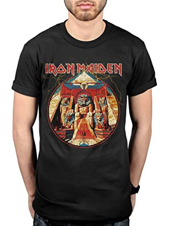 ba8ef9e7b Official Iron Maiden Powerslave Lightning Circle T-Shirt Black:  Amazon.co.uk: Clothing