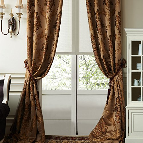 IYUEGO Luxury European Style Jacquard Silky Heavy Fabric Grommet Top Lining Blackout Curtains Drapes With Multi Size Custom 100