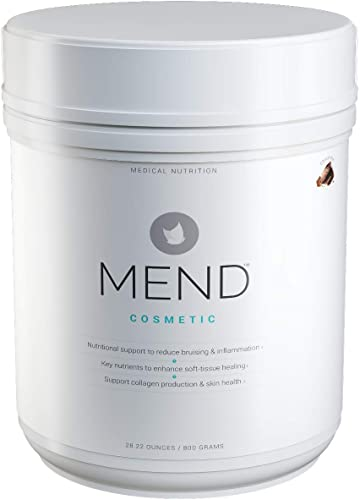 Mend Cosmetic – Post-Surgery Skin Healing Supplement Powder with Arnica, Whey Protein, Collagen, Bromelain and More – Chocolate – 20 Servings