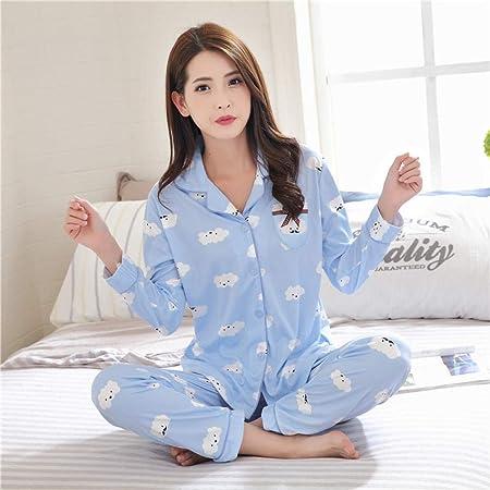 Jenny.Ben Conjunto de Pijama de Mujer Estampado Moda Dos Piezas Camisa + pantalón Suave Servicio a Domicilio Azul 2_XXL: Amazon.es: Hogar